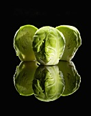 Brussels Sprouts on Black with Reflection