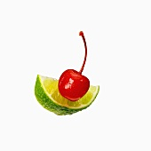 A Maraschino Cherry with a Lime Wedge