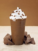 A Chocolate Coffee Smoothie with Whipped Cream