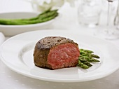 A Piece of Filet Mignon with Asparagus