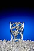 Glas mit Eiswürfeln auf Eiswürfeln vor blauem Hintergrund