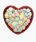 Heart Candies in a Heart Shaped Bowl