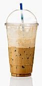 A Half Consumed Iced Mocha Latte in a Plastic Cup with Cover and Straw