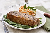 Surf & Turf: NY Strip Steak with Crab Legs