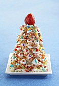 Cereal Sculpture of Christmas Tree with Candy Decorations