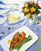 Seasoned Swordfish on Red and Yellow Tomatoes with Asparagus; White Wine and Flowers
