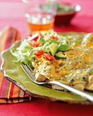 Green Chili and Chicken Enchilada