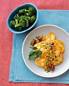 Chicken Scallopine with Olive-Orange Sauce and Steamed Broccoli