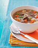 A Bowl of Beef and Barley Soup
