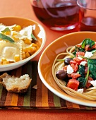 Linguine with Spinach, Olives, Tomatoes and Feta and Ravioli with Squash and Sage