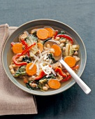 Vegetable soup with white beans, endive and sausage