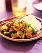 Chinese Pork, Tofu and Green Bean Stir Fry with White Rice