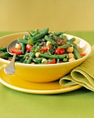 Bean Salad with Green Beans, Garbanzo Beans, Cherry Tomatoes, Red Onion and Basil