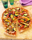 Veggie Pizza with Zucchini, Eggplant, Onions, Pepper and Pesto