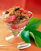Cranberry-Apple Crisp in a Glass Dish