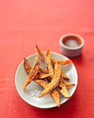 Fried Sweet Potato Wedges with Coarse Salt