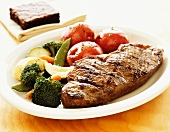 Grilled Steak with Mixed Vegetables and Red New Potatoes