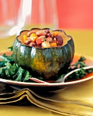 Individual Serving of Bean Soup in an Acorn Squash Bowl