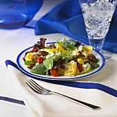 A Greek Salad with a Glass of Seltzer Water