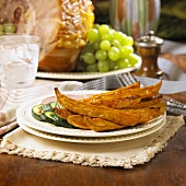 Apricot Glazed Sweet Potato Wedges with Zucchini and Ham
