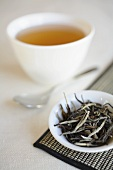 White Tea Leaves with a Cup of Brewed Tea