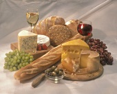 Cheese, Bread, Wine, Fruit and Olive Still Life