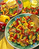 Tomato, Bell Pepper and Cucumber Salad with a Hamburger