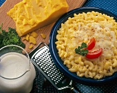 Macaroni and Cheese with Cheddar Wedge, Milk and Grater
