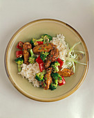 Chicken Wing, Broccoli and Red Pepper Stir Fry