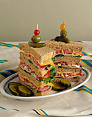 A Four Layer Turkey Club Sandwich