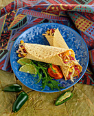 Two Chicken and Veggie Wraps in Corn Tortillas