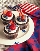 Chocolate Cupcake with Vanilla Frosting and Berries for July 4th