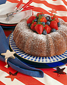 A Chocolate Bundt Cake with Berries for July 4th