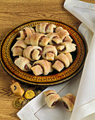 Rugelach with Chocolate Coins and a Dreidel