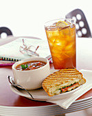 Pesto Chicken Panini with Chunky Tomato Soup and Iced Tea