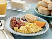 Scrambled Eggs with Bacon and a Biscuit with Jam