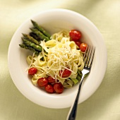 Fettucine with Asparagus, Grape Tomatoes and Parmesan