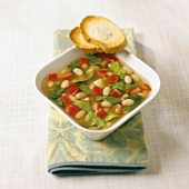 Italian White Bean and Cabbage Soup with Bread Slices