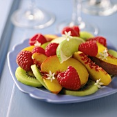 Fruit Salad with Kiwi, Nectarines, Raspberries and Lime