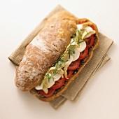 Mozzarella, Tomato and Artichoke on Rustic Bread