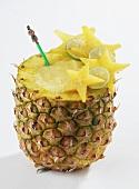 A Pina Colada Served inside a Pineapple