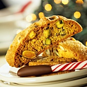 Pistachio-Orange Biscotti with a Chocolate Dipped Candy Cane