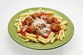 Rotini with Sauce, Meatballs and Parmesan