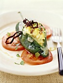 Stuffed Pastilla Chile with Eggs, Tomatoes and Chipotles