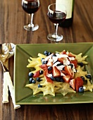 Star Fruit Salad with Strawberries, Blueberries and Coconut, Red Wine