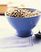 Fresh Black Eyed Peas in a Blue Bowl