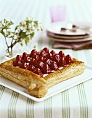 A Square Strawberry Puff Pastry Tart