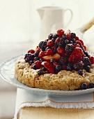 Hazelnut shortcake with caramel berries