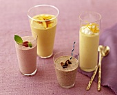 Strawberry, Chocolate, Peach and Mango Smoothies