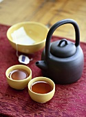 Asian Tea Setting with Pot and Cups